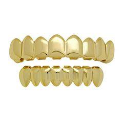 Babituo Hip hop gold teeth grillz 8 teeth Top & Bottom Shiny Grills punk teeth caps costume party golden 7x1.3cm/5x1.2cm