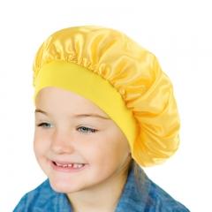 Newborn baby kids satin sleeping Cap bonnie sleepwear bathing head cover bonnet hair health 27cm yellow 13cm/27cm