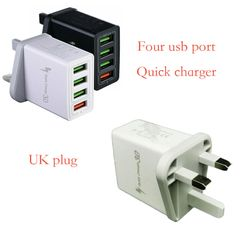 Quick/fast charger 3.0 travel adapter with UK plug & multiple usb ports for smartphone/tablet White UK plug&4 USB ports