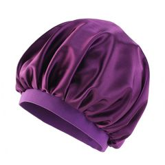 oversized satin Head wraps Headscarf caps sleeping wear bonnet ladies turban Hats&Caps gift 35cm dark purple