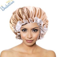 oversized Satin hair wraps sleeping bonnet hats&caps adjustable band hairstyle keeping gift 36cm Champagne