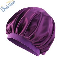 Babituo oversized satin Head wraps Headscarf caps sleeping wear bonnet ladies turban Hats&Caps gift Dark Purple