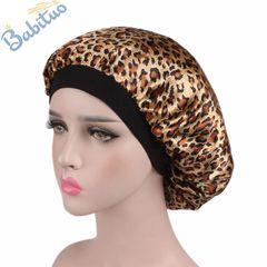 Babituo pattern satin headscarf hair wraps ladies turban silk sleeping caps bonnet hats for women leoprint
