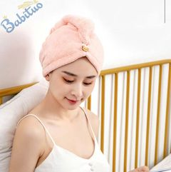 Babituo Microfiber dry Hair Towel Wrap coral velvet super absorbent quick dry hair cap for bathroom Pink 64x38cm