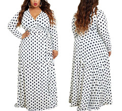 Women's Casual Plus Size V Neck Long Dress Long Sleeve Maxi Dresses with Dots XXXL White