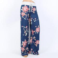 Women's Comfy Casual Pajama Pants Floral Print Drawstring Palazzo Lounge Pants Wide Leg blue l