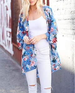 Women's Floral Print Kimono Sheer Chiffon Loose Cardigan blue s