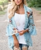 Womens Floral Loose Bell Sleeve Kimono Cardigan Lace Patchwork Cover Up Blouse Top blue xl