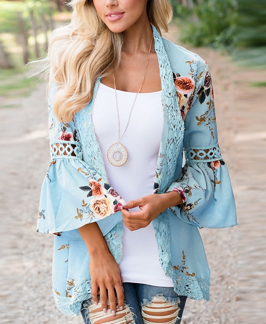 Womens Floral Loose Bell Sleeve Kimono Cardigan Lace Patchwork Cover Up Blouse Top blue s