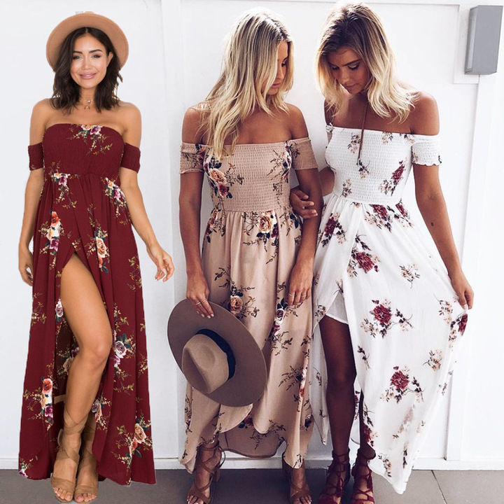 Elegance Womens Party Wrap Chest Off Shoulder Loose Beach Printed Dress Slim   Sexy Maxi Dress s white