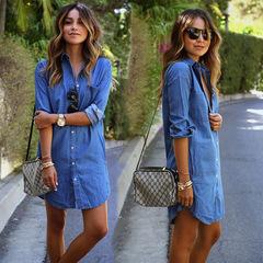 New hot style casual denim shirt women's long-sleeved dress size dress xxl bule
