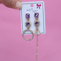 925 asymmetrical diamond earrings with feminine long stud earrings and tassel earrings purple one size