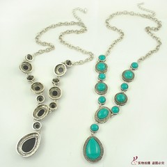 N1723 new European and American original single turquoise drop necklace long necklace black one size