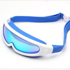 Goggles HD integrated adult waterproof anti-fog big box swimming glasses plating white onesize