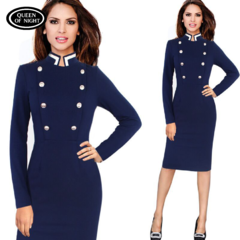 A Polyester Double-Breasted Solid Color Long-Sleeved Office Dress For Women m blue