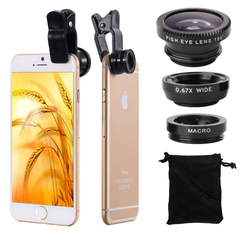 Universal 3 in 1 Cell Phone Lens Kit for Fish Eye Lens / 2 in 1 Macro Lens  Wide Angle Lens gold one size