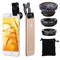 Universal 3 in 1 Cell Phone Lens Kit for Fish Eye Lens / 2 in 1 Macro Lens  Wide Angle Lens black one size