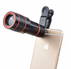 Universal Mobile Phone Lens Clip 12x Optical Zoom Telescope Lens black one size