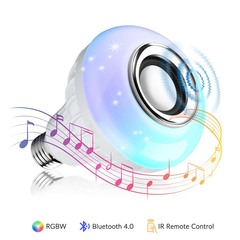 Bluetooth Speaker 12W E27 RGB LED Light Bulb Wireless Music Playing Remote Colorful 12W E27