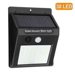 30LED Solar Power Light PIR Motion Sensor Garden Security Outdoor Yard Wall Lamp Black 125mm 0.75W