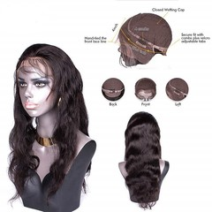 Brazilian Body Wave lace front human hair wigs For Black Women Nartural Color 13x4 pre plucked With Baby Hair Long / short remy 14 inch.