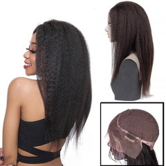 Brazilian Kinky Straight lace front human hair wigs For Black Women Nartural Color 13x4 pre plucked With Baby Hair Long / short remy 14 inch.