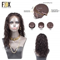Brazilian Deep Wave  lace front human hair wigs For Black Women Nartural Color 13x4 pre plucked With Baby Hair Long / short remy 14 inch.