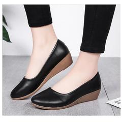 Low heel flat shoes 2019 new wedge heel with heel shoes with round head black low heel shoes black 37