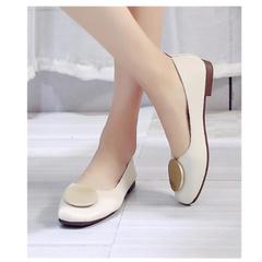 Single shoes women's 2019 new round head low heel green flat bottom good quality women's shoes beige 35