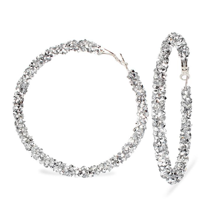 1 Pair of  Earrings Hot Sell Rhinestone round Exaggerated Big Circle Hoop Earrings(6.5*6.5) white 6.5cm*6.5cm