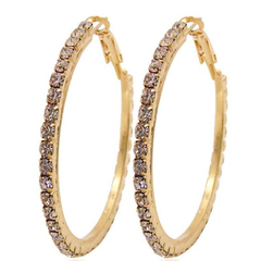 1 Pair/Set Hot Sale New Fashion Exaggerated luxury temperament diamonds earrings one size(7cm) gold 7cm