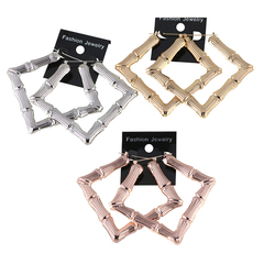 1 Pair of  Earrings Exaggerated large square gold bamboo earrings hip hop earrings(9cm*10cm) gold 10cm*9cm