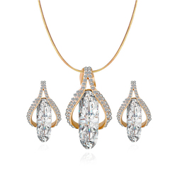 3 Pcs New Fashion Women Jewelry Set Geometric Design zircon pendant necklace and  earrings one size sliver 45cm