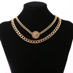 1Pcs/Set Women Necklaces Two Layer Thick Chain Head Tag Alloy Pendant Fashion Hip Hop Jewelry gold 45cm