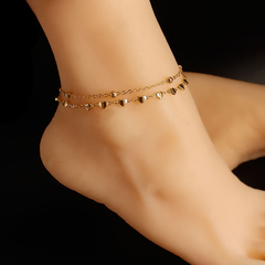 Women Double-layered Ankle Chain popular peach heart handmade Anklets Jewellery Accessories one size gold 26cm