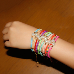 1 pcs Hand-woven color rice beads pearl bracelet ladies adjustable jewelry Multi-color optional green 36cm