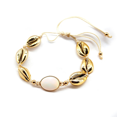 1Pcs/Set Fashion Women Hand-knitted knotted alloy gemstone gold color bracelet one size gold 31cm