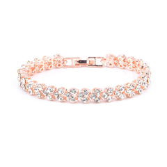 Female Roman Crystal Simple Diamond Bracelet Exquisite Luxury Jewelry Lover Gift Rose Gold(16.5cm) Rose Gold 16.5cm