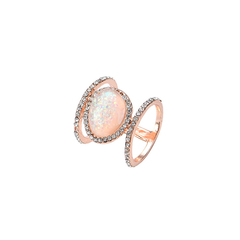 1 Set Lady Beautiful Geometric Jewelry Accessories Female Retro Moonstone Ring Five Size Four colors rose gold 9