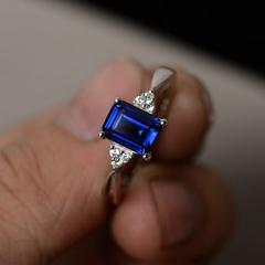 1 set girl Colorful stone square diamond ring female creative personality inlaid rainbow gem ring navy 9