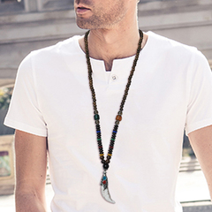 1 set men handmade long necklace stone pendant ethnic style clothing accessories pendant new jewelry white one size