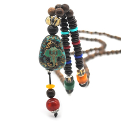 1 set men handmade long necklace stone pendant ethnic style clothing accessories pendant new jewelry green one size