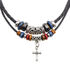 Men Religious Double Rope Beaded Cross Necklace Leather Cord Knitted Men's Necklace black 45cm black one size