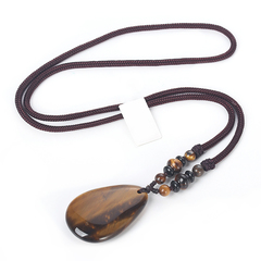 1 pieces tiger eye stone necklace men's necklace drop pendant travel commemorative jewelry one size brown 65cm