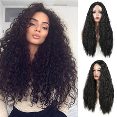 European and American long curly hair New Fashion Hot Selling Ladies Synthetic Wigs Hair Wigs 27inch black 27inch