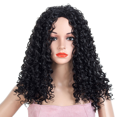 Fashion African Curly Hair Ladies Hot Sell Small Curly Hair Wig High Temperature Silk Wigs 23inch black 23inch