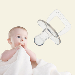 silicone pacifier baby sleepy play pacifier baby comfort flat head and round head two type pacifier Transparent color 6.5*5cm