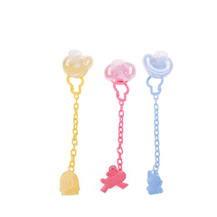 Baby cartoon pacifier + Anti-drop chain combination baby pacifier three colors one size yellow 5*5.8*20.5cm