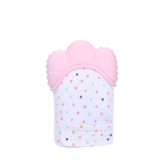 Baby teether baby anti-bite silicone molar gloves children's sound toys self-soothing pain one size pink 10cm*6.5cm