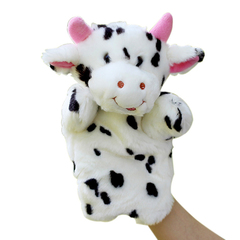 Cartoon Soft animal children storytelling props baby early education stuffed plush toy hand puppet white 25*15cm